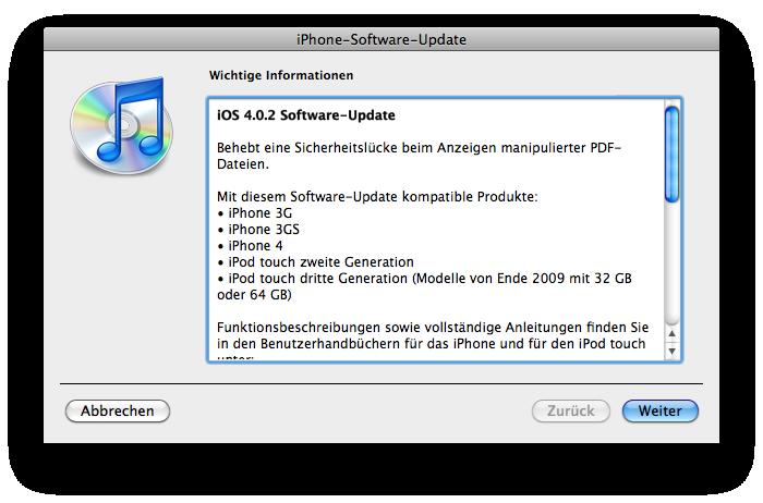 iphone information n rnberg apple ios 4 0 2 update schlie t sicherheitsl cke. Black Bedroom Furniture Sets. Home Design Ideas