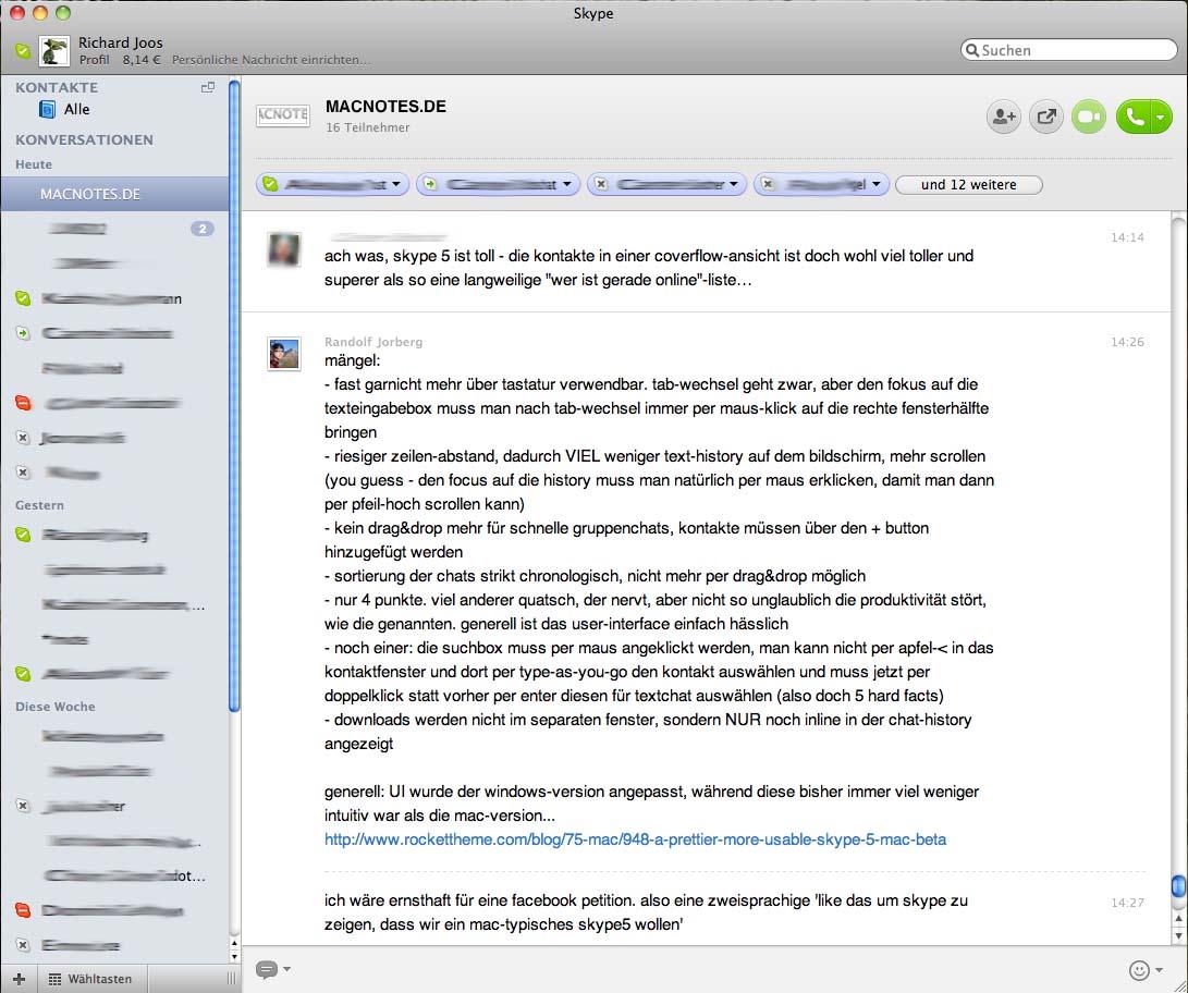 Skype 5 Beta für Mac: Gebt uns ein besseres Skype 5!