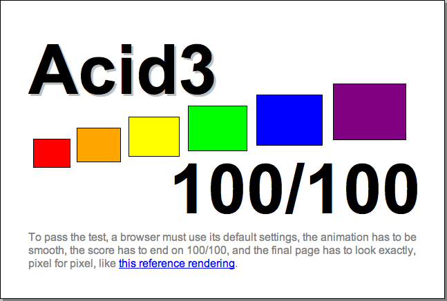 Acid3 – Referenz-Wertung