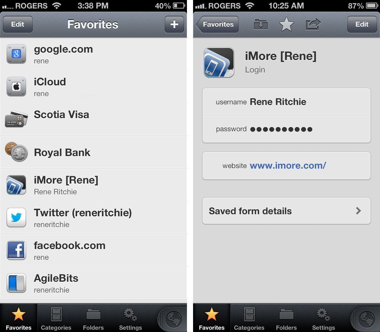 1Password 4 iOS Favoriten