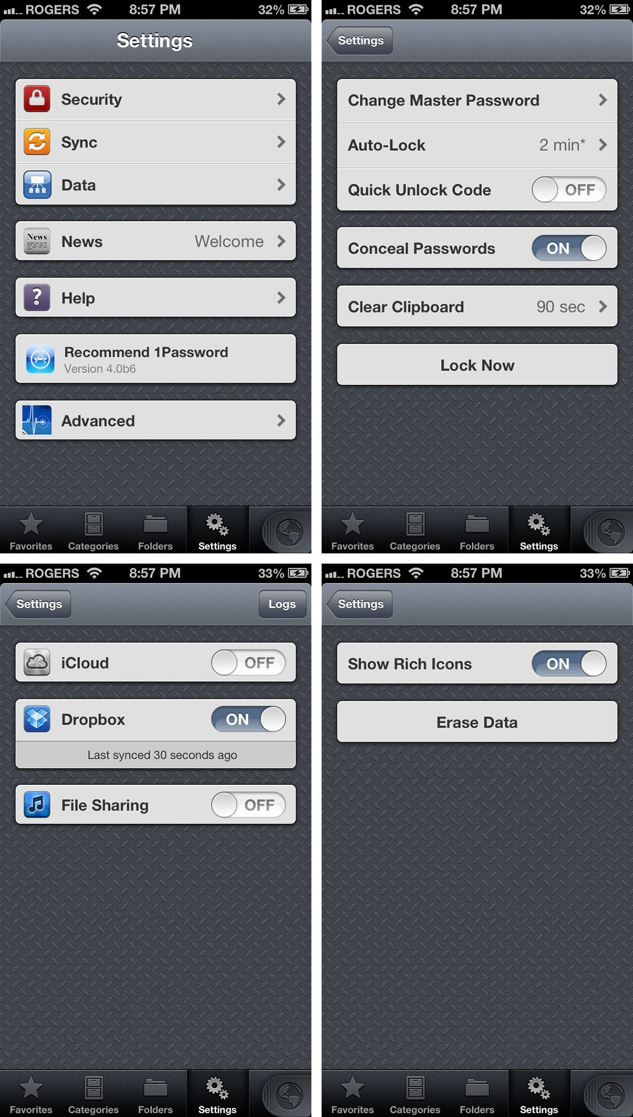 1Password 4 iOS Einstellungen