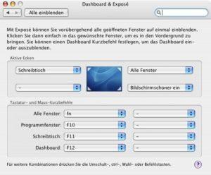 Systemeinstellungen Exposé und Dashboard