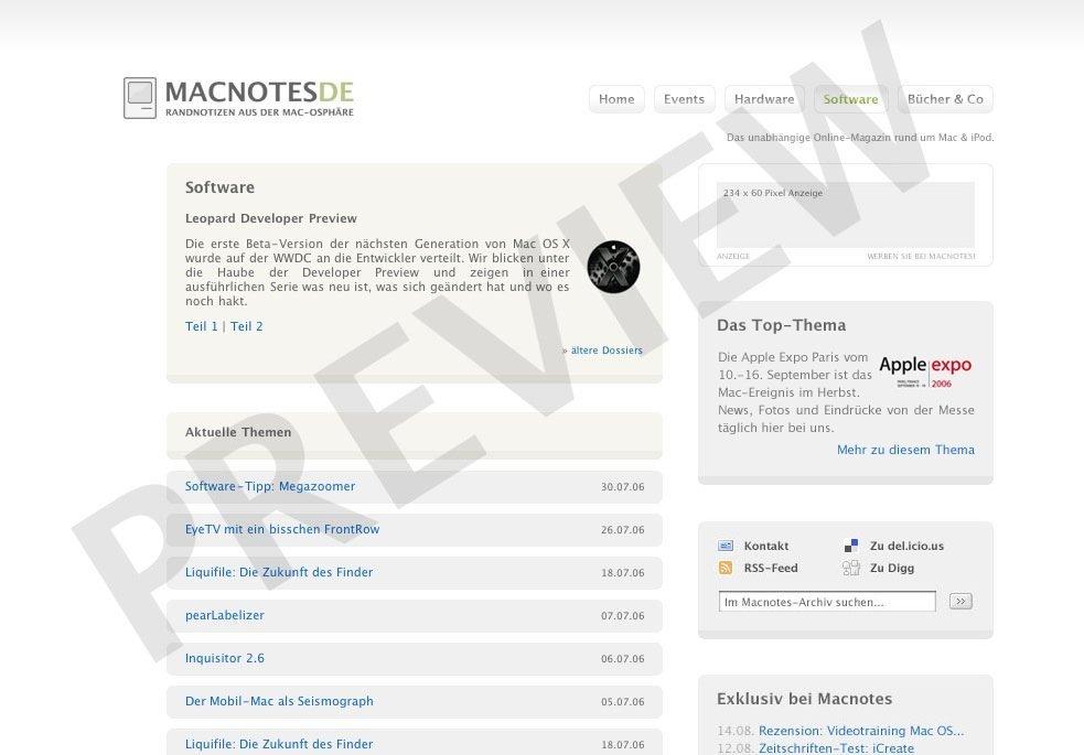 Macnotes - Redesign-Vorschau