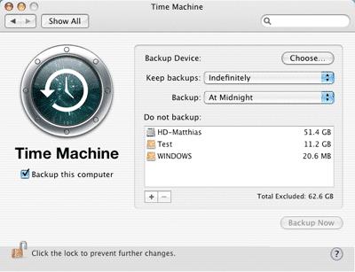 Einstellungen für Time Machine