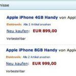 Amazon - iPhone mit 4 und 8 GB Speicher