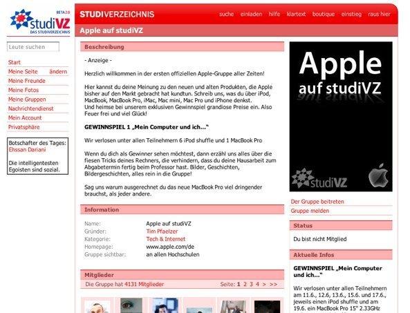 StudiVZ - Apple-Gruppe