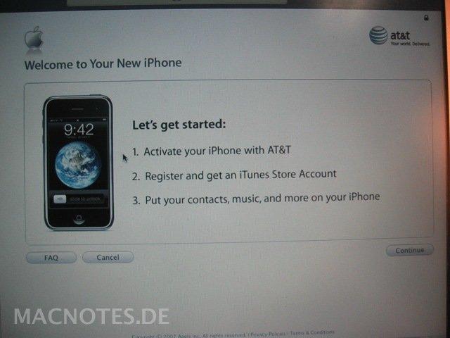 iPhone 2G - Online-Aktivierung mit iTunes