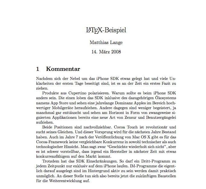 Beispiel-Text, der mit LaTeX gesetzt wurde