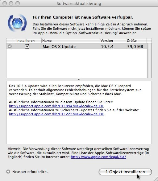 Mac OS X 10.4.5 Updatemeldung