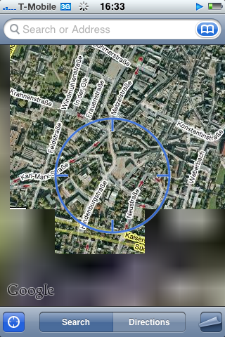 Google Maps - Positionsbestimmung per assisted GPS auf iPhone 3G