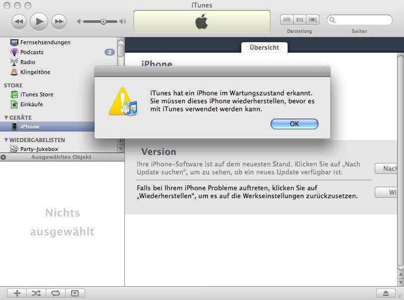 iTunes - iPhone im Wartungsmodus