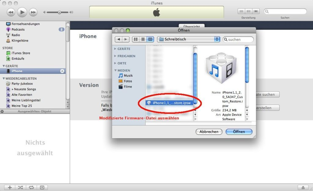 iTunes - Custom Firmware auswählen