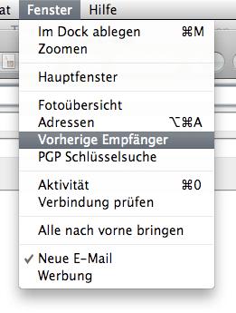Mail - vorherige Empfänger