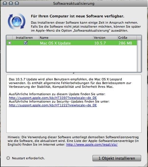 Mac OS X 10.5.7 - Updatemeldung
