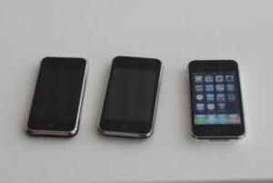 iPhone Classic, 3G und 3GS von links nach rechts