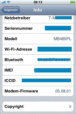 Infoanzeige von iPhone OS3.1 beta