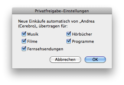 iTunes 9 - Privatfreigabe-Einstellungen