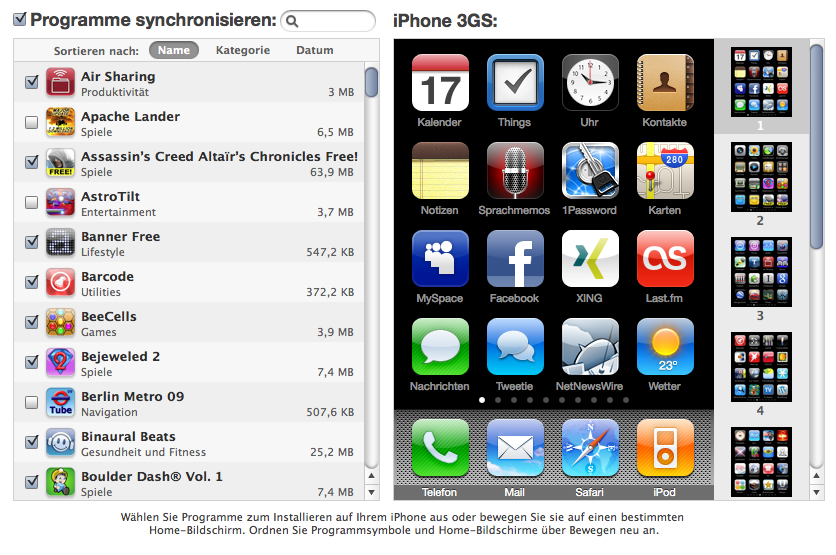 iTunes 9 - Apps installieren