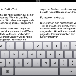 Pages 1.3 für iPad mit iOS 4.2 Features
