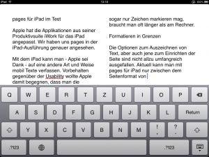 Pages für iPad - zwei Spalten Layout