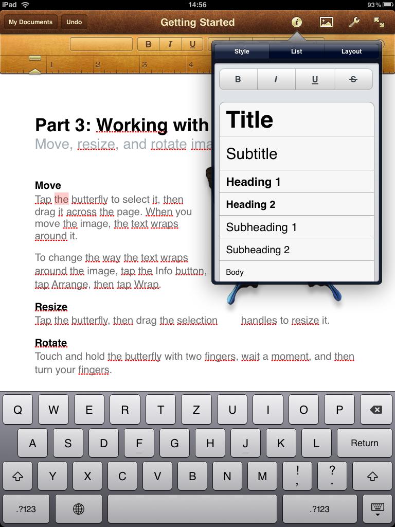 Pages für iPad - Optionen zur Text-Formatierung