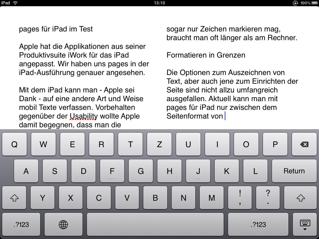 Pages 1.3 für iPad mit iOS 4.2 Features