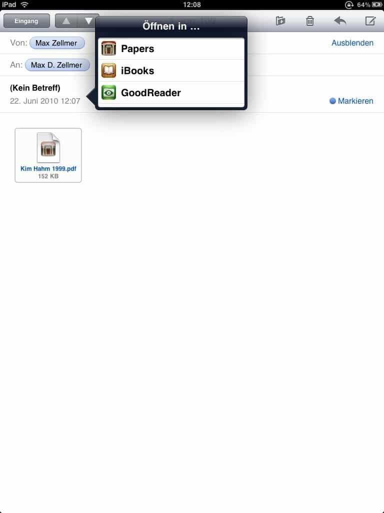iBooks 1.1 - Speichern von PDF in Mail