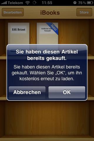 iBooks 1.1 - Artikel bereits gekauft
