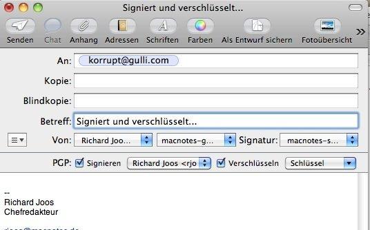 Apple Mail - GPG Verschlüsselung