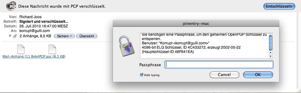 Apple Mail - GPG Entschlüsselung