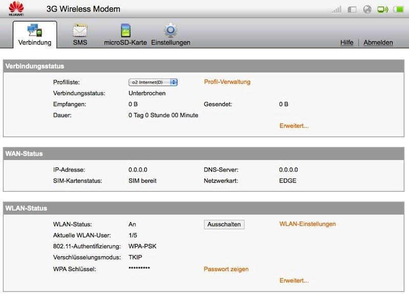Huawei E5 - Webinterface