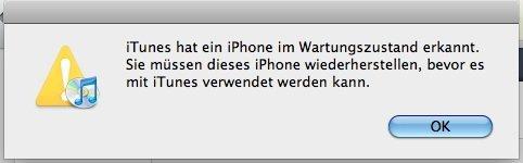 iPhone im Wartungszustand erkannt