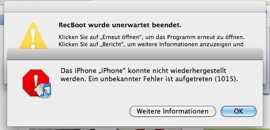 iTunes Fehler 1015