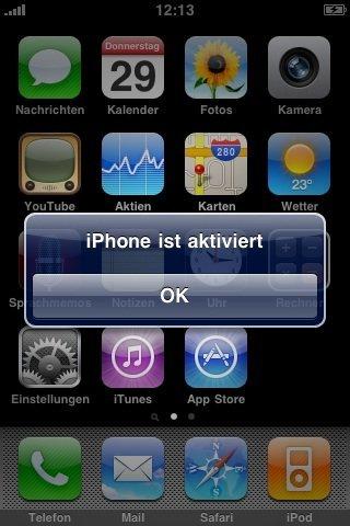 iPhone ist aktiviert - Screenshot