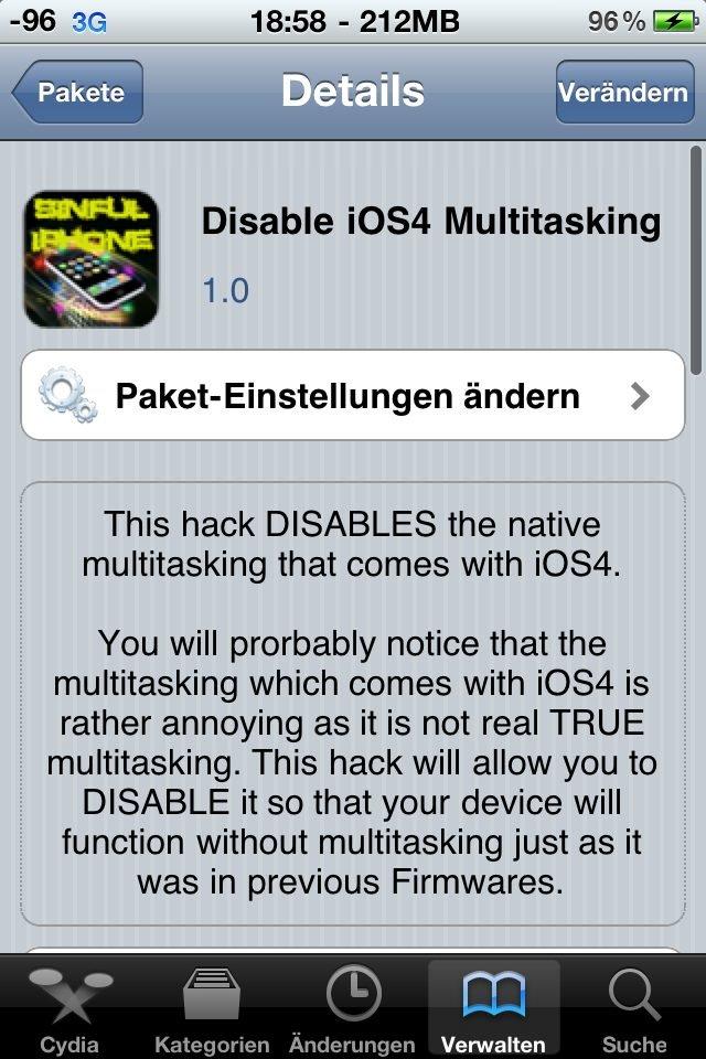 Disable iOS 4 Multitasking