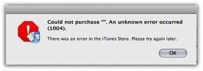 iTunes: Fehler 1004