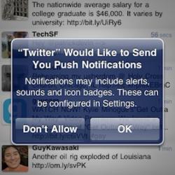 Twitter-App unter iOS 4.1 mit Push Notifications?