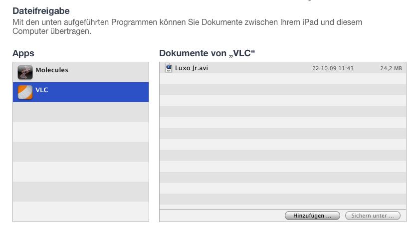 VLC für iPad - mit iTunes verbinden