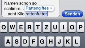 Rattengift - Autorkorrekturvorschlag iOS