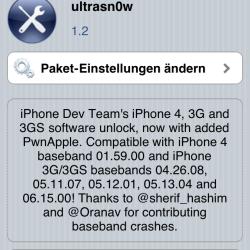 Unlock von iPhone 3G(s) unter iOS 4.2 mit ultrasn0w 1.2