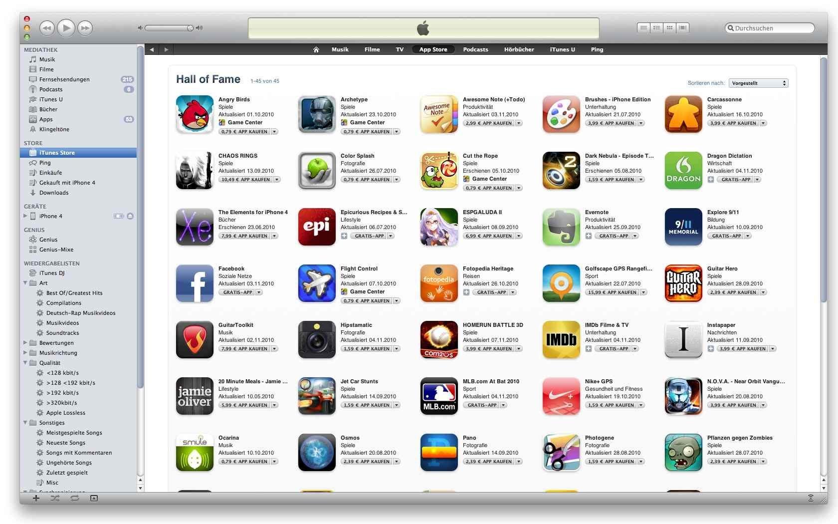 "App Store: ""Hall of Fame"" für Topseller-Apps"