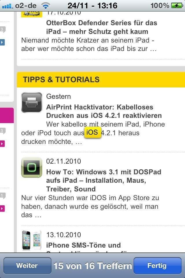 Mobile Safari - Navigation in Webseite durchsuchen