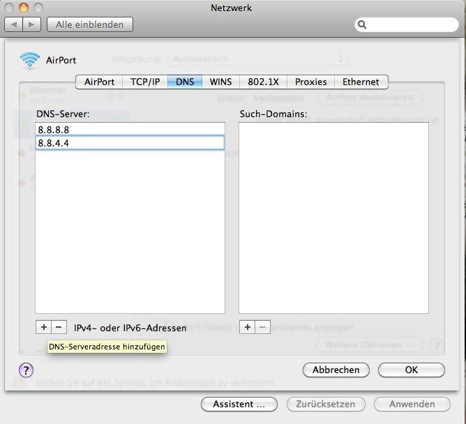 OS X 10.6.5 - DNS-Server hinzufügen