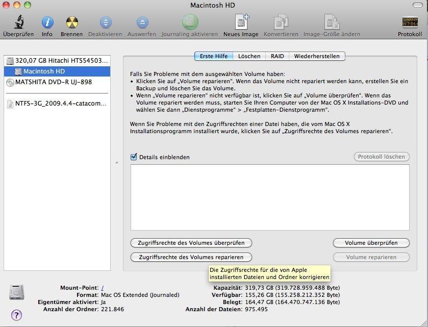 OS X 10.6.5 - Zugriffsberechtigungen reparieren