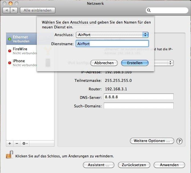 OS X 10.6.5 - AirPort-Verbindung neu hinzufügen