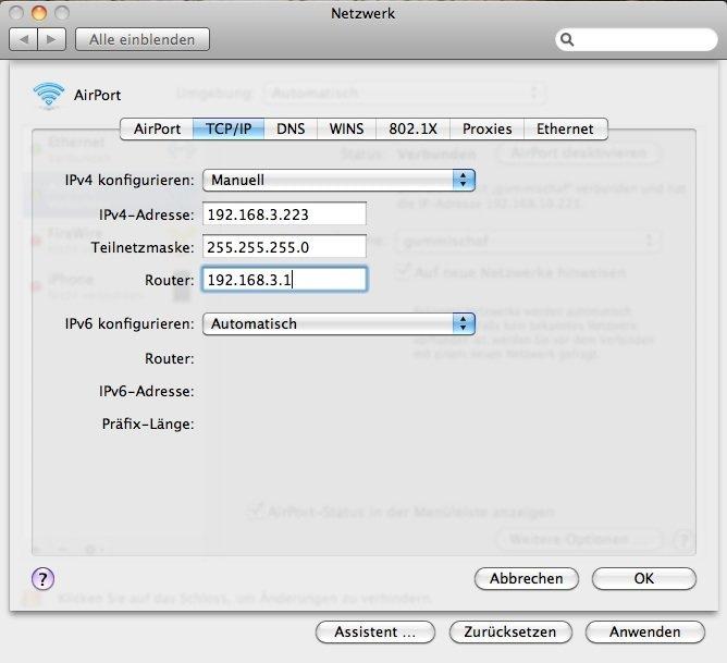 OS X 10.6.5 - WiFi-IP-Adresse manuell eingeben