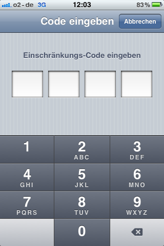 iOS - Einschränkungs-Code eingeben