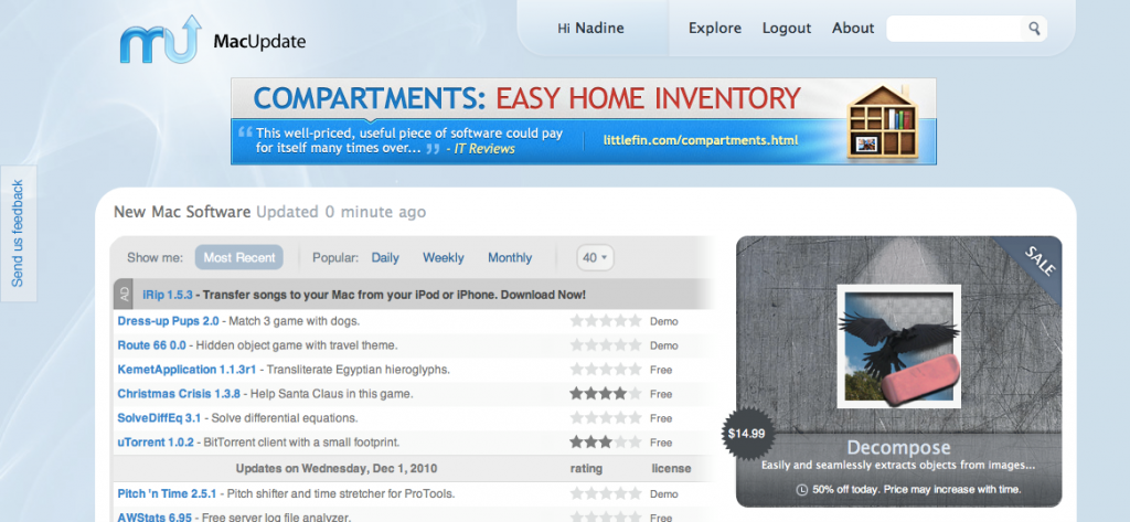 MacUpdate-Homepage in neuem Design