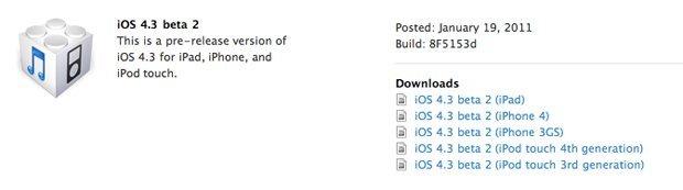 iOS 4.3 Beta 2 veröffentlicht