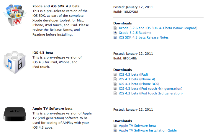 iOS 4.3 Beta 1 veröffentlicht